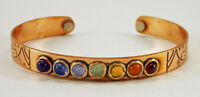 Copper 7 Chakra Crystal Bracelet Adjustable Magnetic Cuff Reiki Healing Gemstone