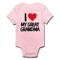 CafePress I Love My Great Grandma Cute Infant Bodysuit Baby Romper (225067732)