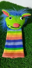 THE PUPPET CO LARGE KNITTED SOCK MONSTER HAND GLOVE PUPPET FANGS RAINBOW