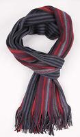 Klassischer Strickschal aus 100% Wolle  mit Fransen  schwarz rot gestreift