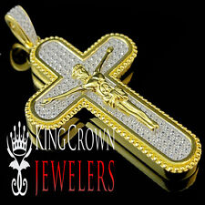 Real Yellow Gold Sterling Silver Lab Diamond Jesus Crucifix Cross Pendant Charm
