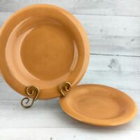 Tabletops Unlimited ESPANA Stoneware  Mandarin Orange Dinner Salad Plate Set 2