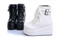 Womens Platform Punk  Ankle Boots Sports Sneakers Wedge High Heel Casual Shoes