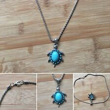 Women's Turquoise Rhinestone SeaTurtle Pendant & Necklace Jewellery Gift For Her