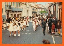 Azores vintage rppc: Catholic procession, little girls, Feast of the Holy Ghost