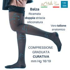 Calze Autoreggenti Donna 140 denari compressione graduata curativa mmHg 16/19