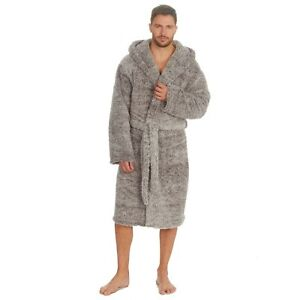 MENS SOFT WARM HOODED SHERPA  DRESSING  GOWN