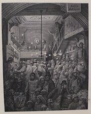 Doré-Londres; Billingsgate-temprano en la mañana' , antiguo grabado en madera, C.1870