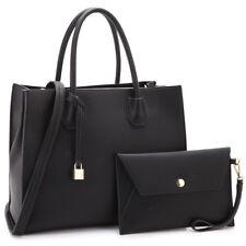 Dasein Womens Handbags Faux Leather Satchels Medium Purse w/ Wallet Wristlet