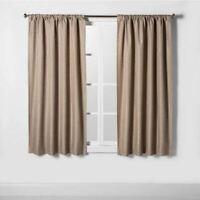 "Room Essentials Heathered Thermal Room Darkening (1) Curtain Panel Tan 63"""