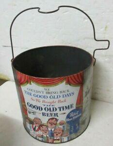 Vintage 1960s PBR Pabst Blue Ribbon Beer Good Old Time metal can display bucket
