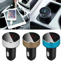 Dual USB Car Cigarette Charger with LED Display Volt Amp Meter DC 3.1A 12V-24V
