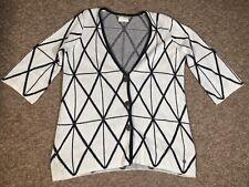 Nümph White Geometric Diamond Knitted Short Sleeved Cardigan (S) 12/14 Oversized