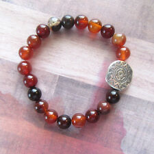 Aztec Pattern Inspired Focal Bead Stretch Bracelet with Orange Glass Beads