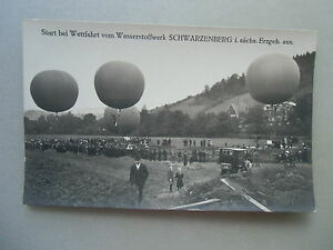 Ansichtskarte Fotopostkarte Ballonfahrt Wettfahrt Schwarzenberg um 1910 Sachsen