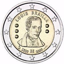 Belgien 2 Euro Münze Blindenschrift Louis Braille Gedenkmünze 2009 bankfrisch