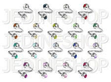 Twisted Barbell Spiral Ring - 1.6mm (14g) - 6mm 8mm 10mm 12mm - Gem - 18 Colours