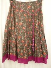 10 White Stuff flared skirt brown red floral lined cotton hippy boho gypsy folk