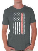 Red Line Flag Firefighter Shirt American Firefighter Men's Shirt Patriots Gifts