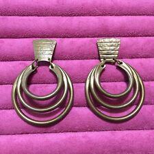 Vintage Baer SF Dangle/Drop Hammered Metal Clip-On Earrings
