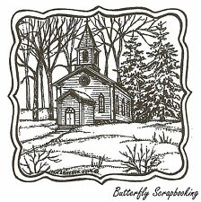 Church And Pines Curve Frame, Wood Mounted Rubber Stamp NORTHWOODS- NEW, PP9638