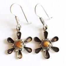 Vintage Solid Silver Women's Tigers Eye Earrings 5.5g Hallmarked 925