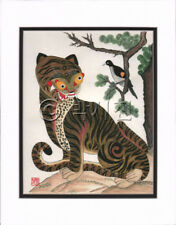 Korean Art Rice Paper Print Magpie Tiger Matted #002r