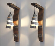Wooden antique style 1 3 wall lights ebay set of 2 traditional rustic retro authentic wooden metal barrel wall light lamp aloadofball Image collections