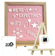 Pink Felt Letter Board with 678 Letters, Numbers, Emojis and Symbols,10X10 Inche