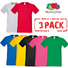 3 x Fruit of the Loom T-SHIRT MEN'S SOFT COTTON  LYCRA TEE 3 PACK TSHIRTS S-3XL