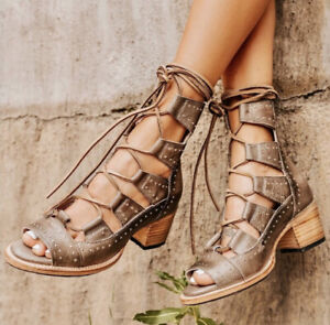 New Freebird By Steven Hazel Stone Lace-Up Leather Gladiator Sandals Booties 9