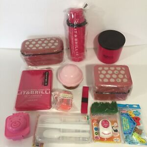 Lunch Bento Box Lot With Red / Pink Bentos, Drink Bottle, Picks, Rice Mold, More