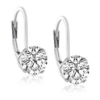 Sterling Silver 925 4 Prong Round 5mm 1ct CZ Lever Back Earrings- Choose A Color