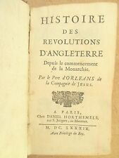 D'ORLEANS HISTOIRE DES REVOLUTIONS D'ANGLETERRE 1689 EDITION ORIGINALE MEDIEVAL