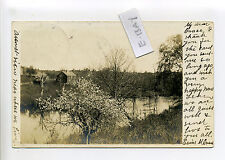 Assonet Freetown MA Mass RPPC real photo 1907 view where we live tree in blossom
