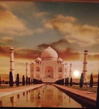 TAJ MAHAL LED LIGHT UP CANVAS ORIGINAL WOODEN FRAMED 50x50cm SUNSET