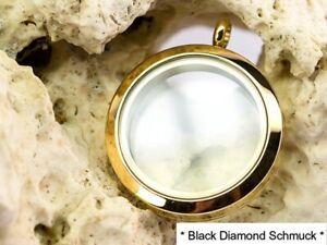 Medaillon Edelstahl vergoldet Durchmesser: 30mm Mit 2 Glasscheiben.+ Lederband