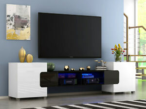 Modern Large 230cm TV Unit Stand Cabinet High Gloss Doors with free Led Light