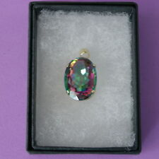 HUGE 9CT SOLID YELLOW GOLD 12CT MYSTIC TOPAZ PENDANT 2.5 X 1.5 CM. WIDE IN BOX