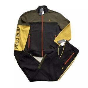 Polo Ralph Lauren RL67 Black Olive Double Knit Colorblock Tracksuit NWT Men's M