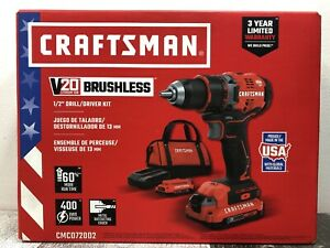Craftsman Brushless Drill Kit 20-Volt Max Lithium Ion 1/2-in (CMCD720D2) NEW