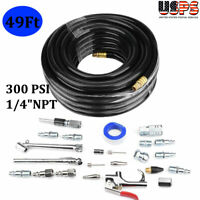 """49FT PVC Air Compressor Hose Kit 1/4""""NPT 300 PSI With 25 Piece Air Tool"""