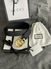 Authentic GUCCI belt Gold Double G Buckle Black size 100/3.4 40 fits 34-36