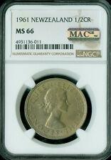 New listing 1961 New Zealand Half Crown Ngc Mac Ms66 Rd Pq Finest Spotless Rare *