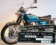 Typenschild Honda CB750 Four K0 K1 K2 K3 einschließlich Gravur