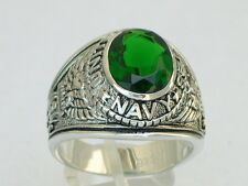 Navy United Stated Military 925 Sterling Silver May Emerald Men's Ring Size 10