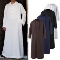 Men Hooded Arab Saudi Jubba Dishdash Islamic Abaya Thobe Casual Long Kaftan Top