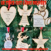 Personalised Christmas Tree Bauble Decoration Ornament Ply Wood Xmas Gift UK
