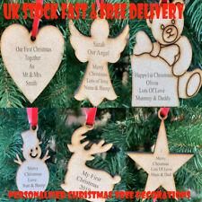Personalizzato Natale Albero Gingillo Decorazione Ornamento Strato Legno, Regalo