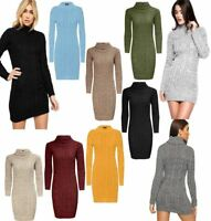Womens Cable Knitted Polo Roll Neck Jumper Ladies Long Sleeve Stretch Dress